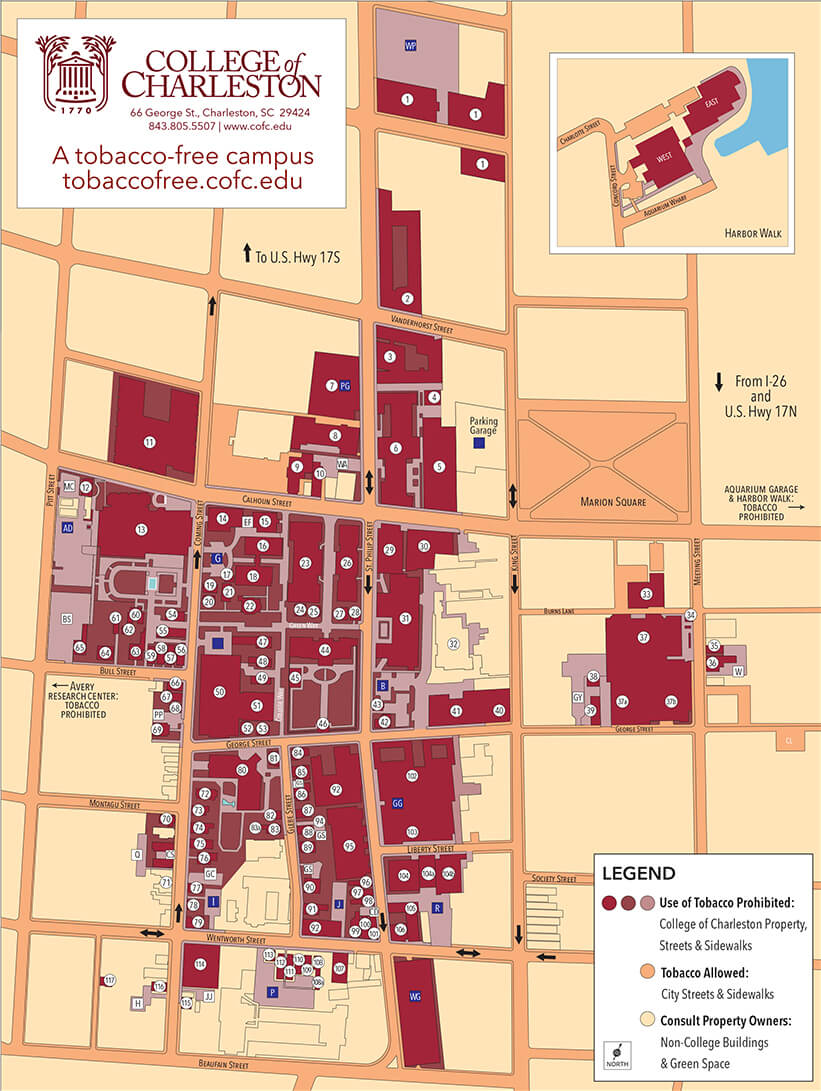 Tobacco free Campus Map   College of Charleston